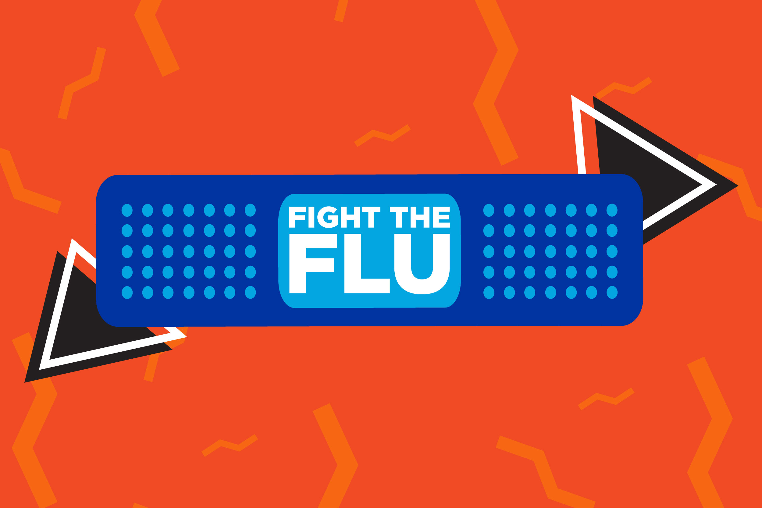 Graphic/decorative flu promotional image with a blue bandaid