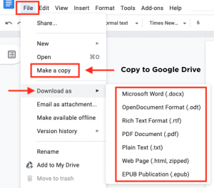 How to download or copy to google drive.