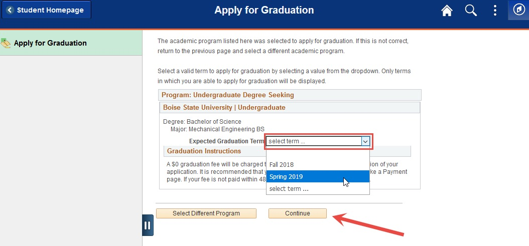 Example of using drop down to select expected graduation term.