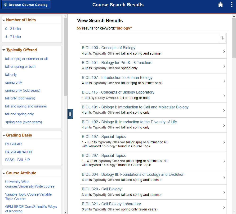 Example of Browse Course Catalog search results.