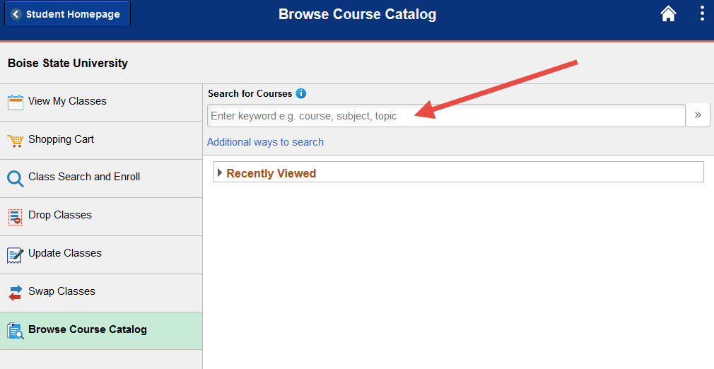 Example of the Browse Course Catalog search bar.