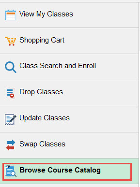 Example of selecting the Browse Course Catalog tab.