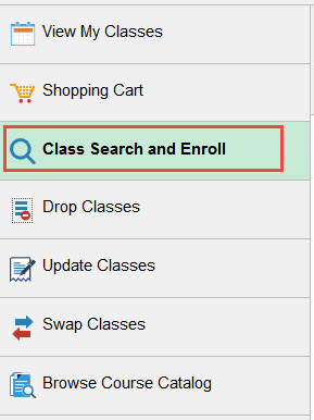 Example of clicking the tab for Class Search and Enroll.