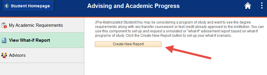 Example of selecting the Create New Report button.