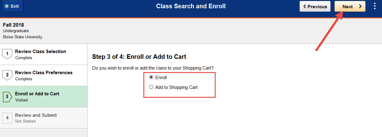 Example of choosing to enroll or add to shopping cart.