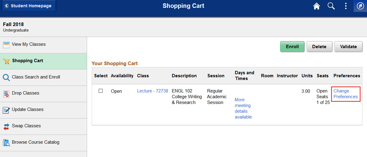 Example of clicking the change preferences link in the shopping cart for a class.