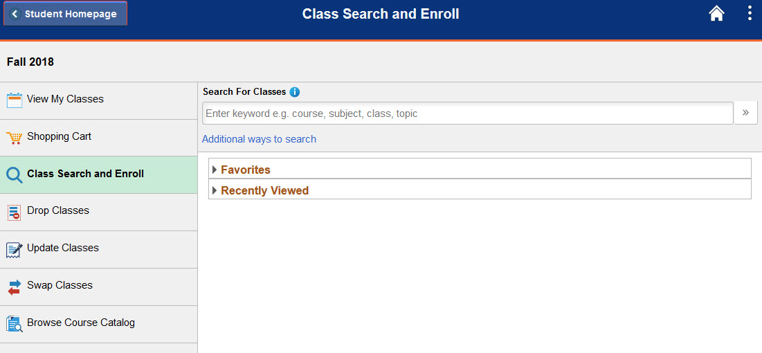 Example of the search for classes search bar.