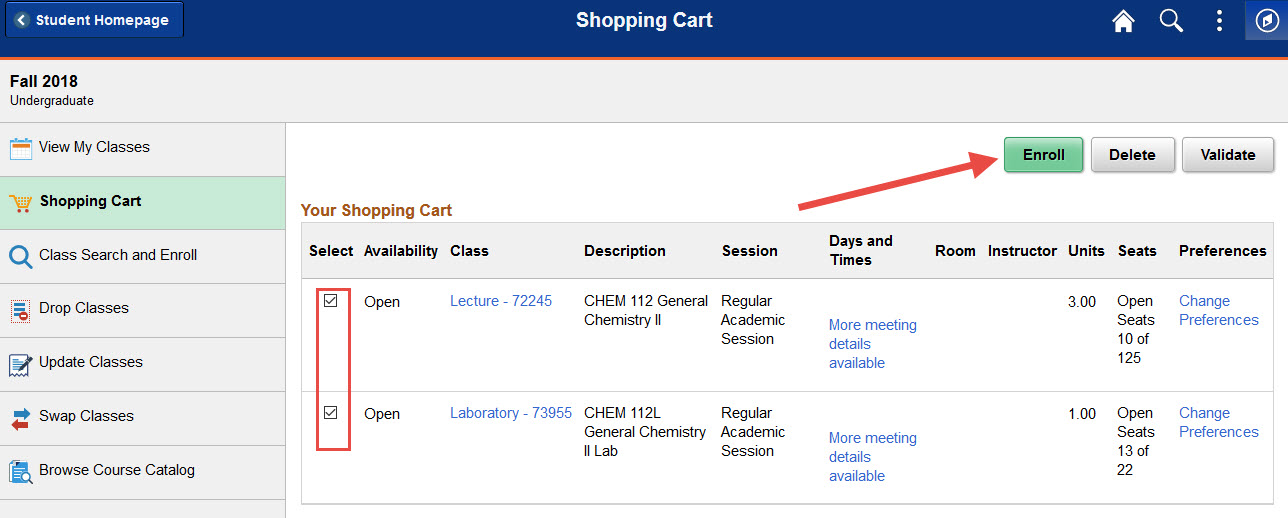 Example of selecting classes to enroll in from the shopping cart.