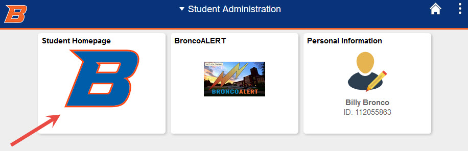 example of clicking the student homepage button.