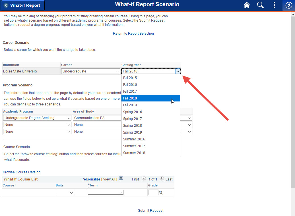 Example of selecting a catalog year.