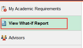 Example of selecting the View What-if Report tab.