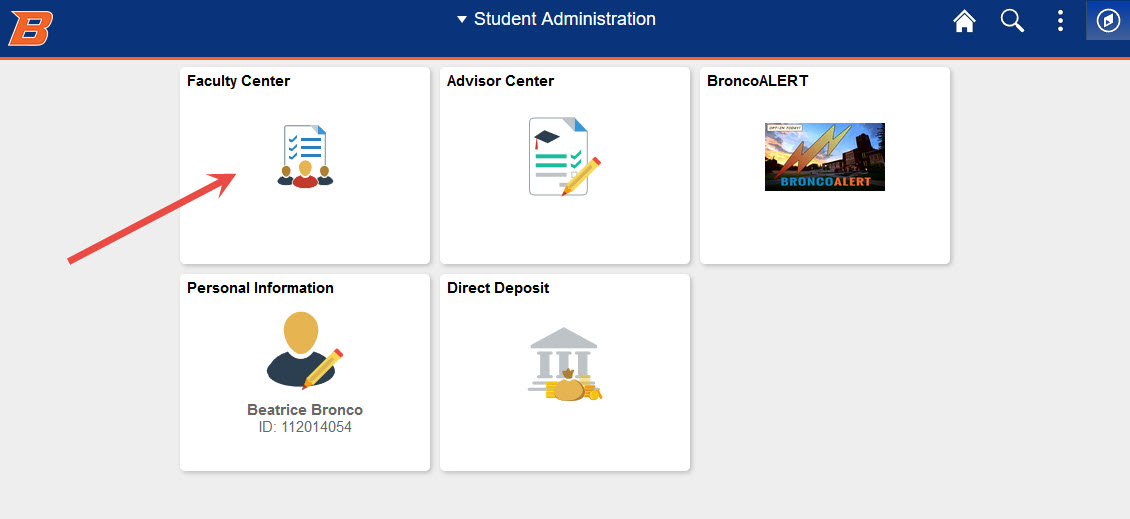Example of clicking the Faculty Center button - view larger image