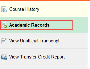 example of where to click for academic records