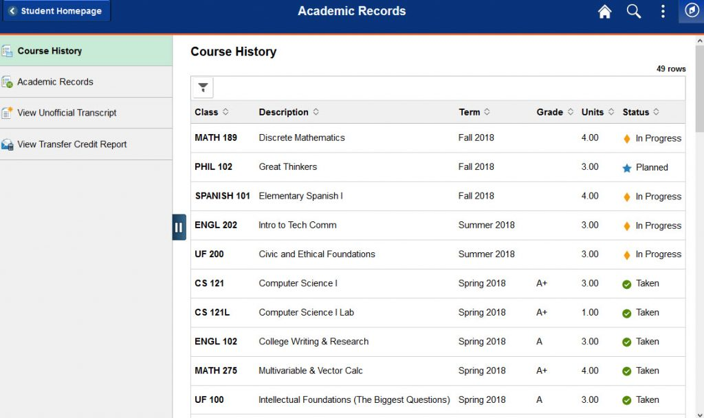 example of courses listed with grades and icons.