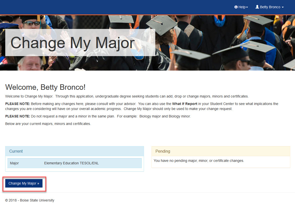 example of change my major button