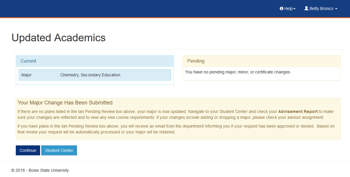 example of updated academics page