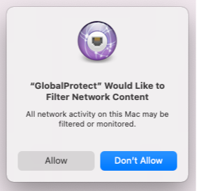 GlobalProtect Mac filter network content