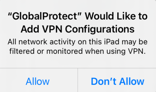 GlobalProtect iOS configurations