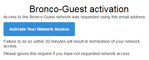 example of email verification for Bronco-Guest wireless
