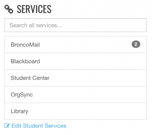 Default services menu in my Boise State