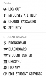 Services are available by clicking your name in myBoiseState at upper right