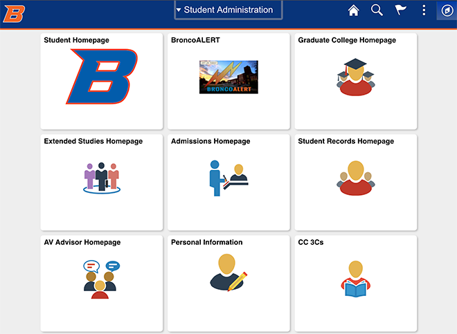 Student Administration page in new PeopleSoft Campus Solutions