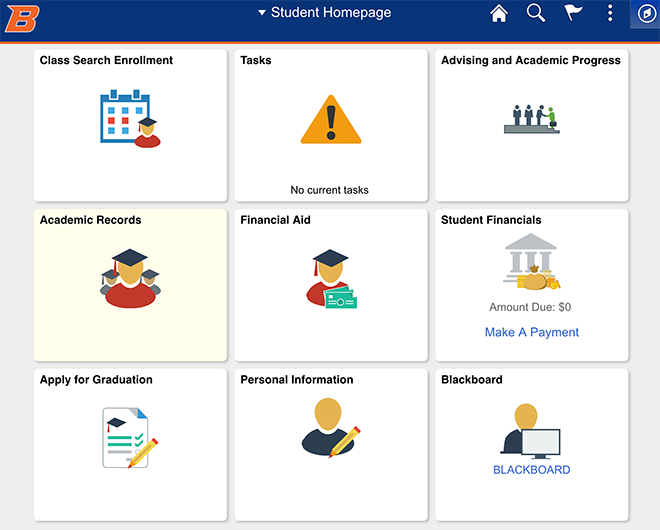 Student homepage example in new campus solutions