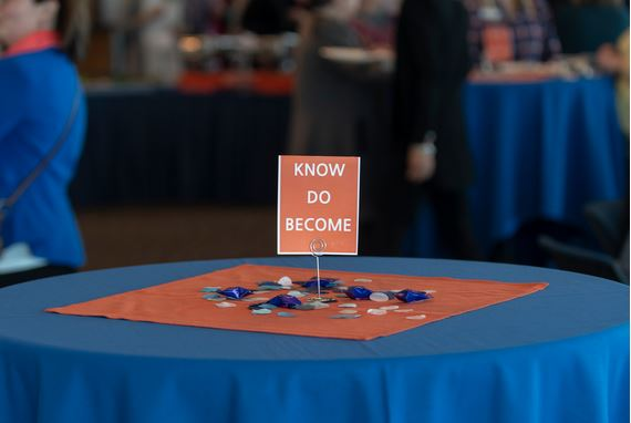 Know, Do, Become, photo of table sign