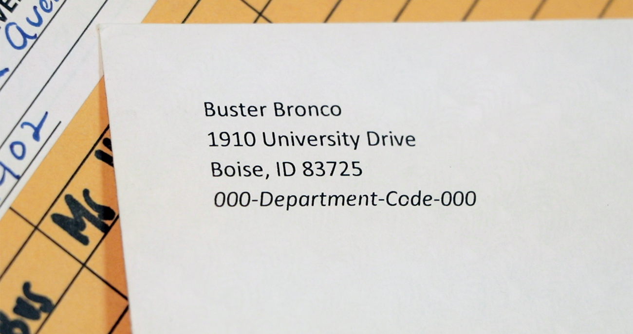 Envelope with a return address and department ID code