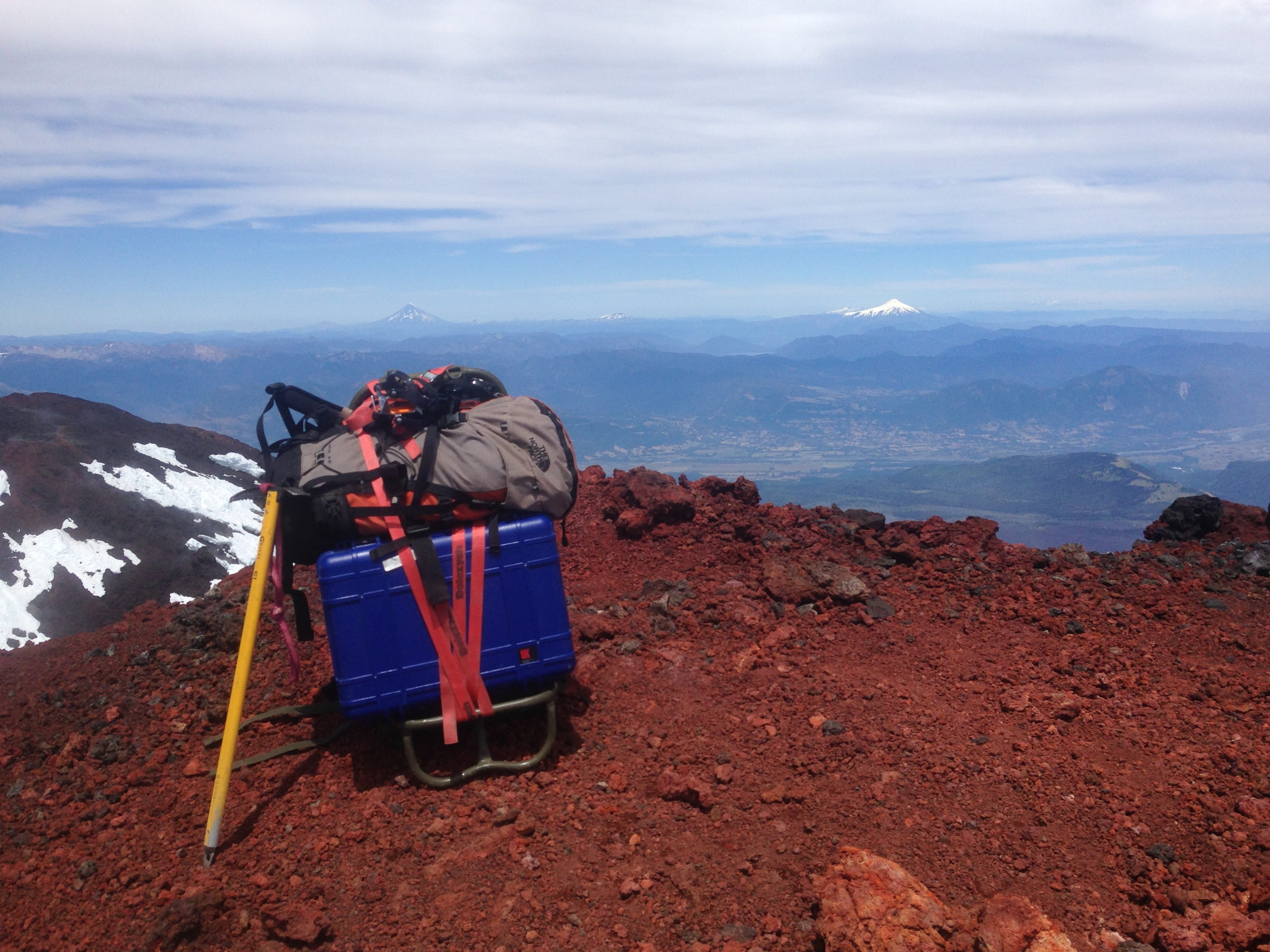 Prepping for installation at the top of Llaima Volcano, Chile. The Meridian Compact PH is in the blue box. Everything but the battery and solar panel fit in the box!