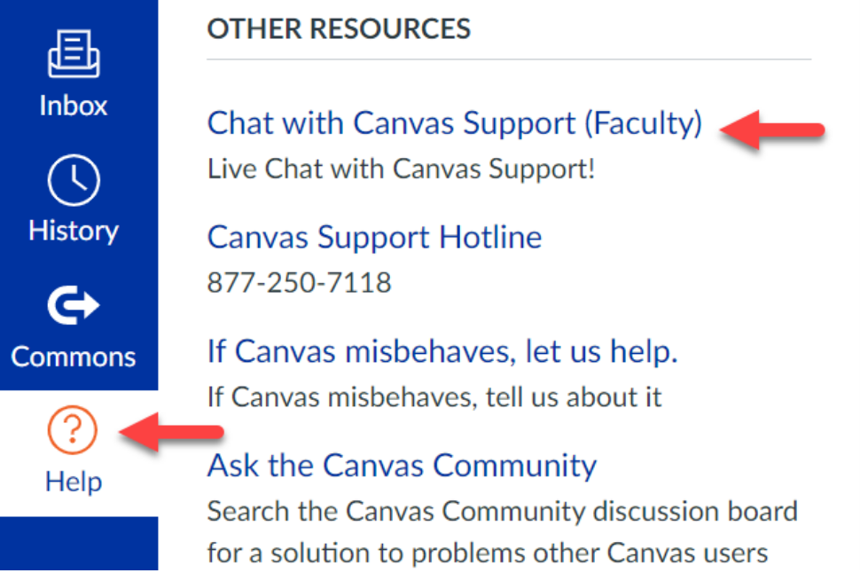 screen shot of the Canvas help button in the global navigation