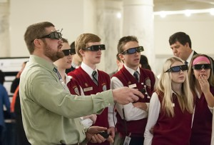 students with 3D glasses
