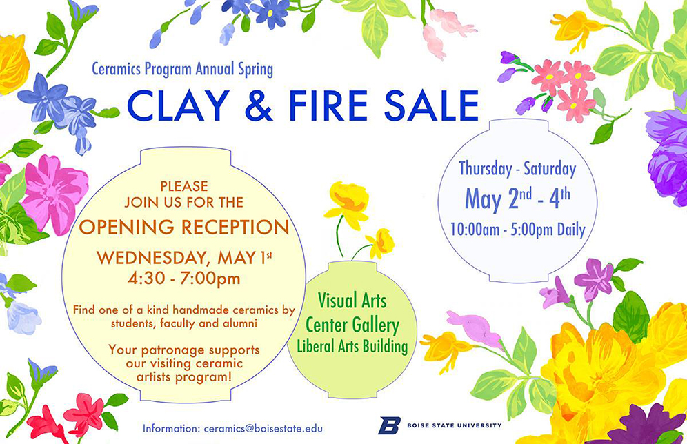 Flyer for clay and fire sale