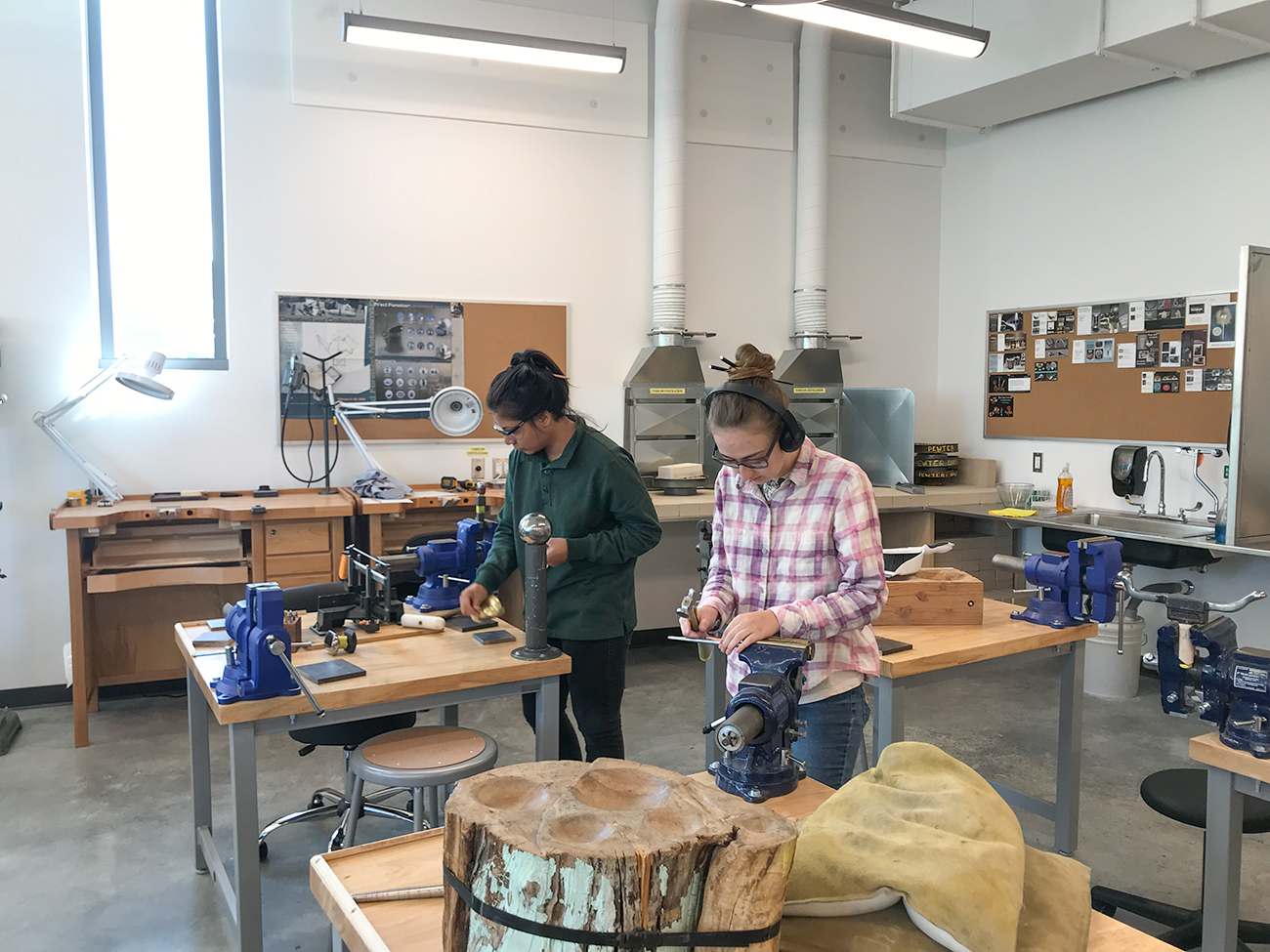 Art Metals Students working in studio