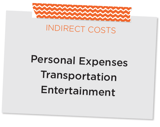 Sticky note of indirect costs