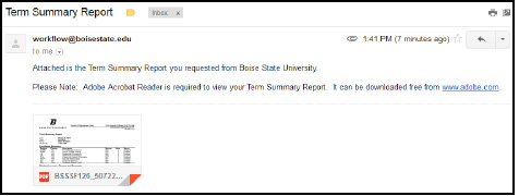 email with Term Summary Report attachment screenshot