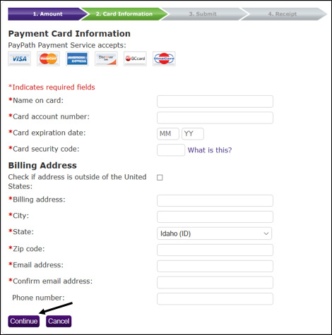 Payment Card Information screenshot