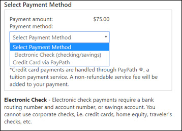 payment method dropdown screenshot