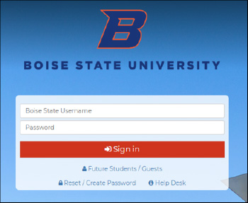 my.BoiseState login screenshot