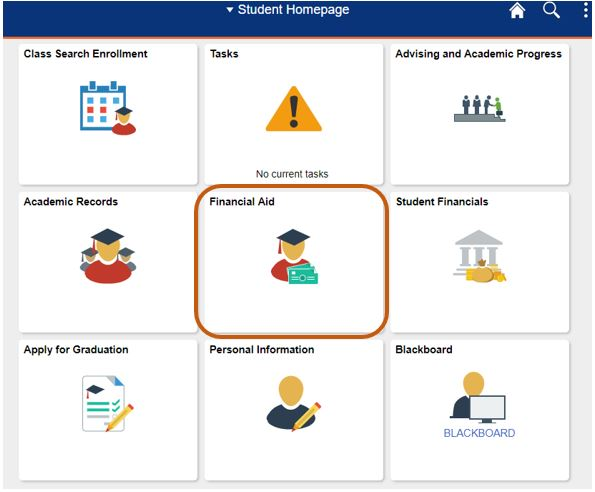 Student Center homepage showing the Financial Aid tab