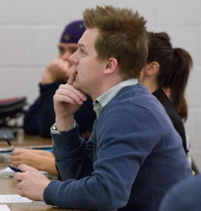 student listening to a lecture