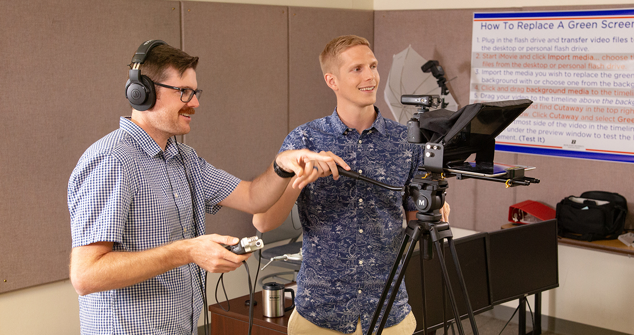 Tyler Winchester and Lane Donavan of the eCampus Center production team record content for an online class at Boise State.