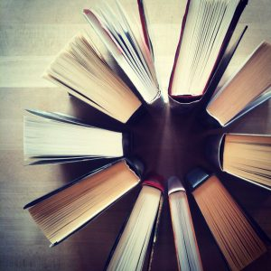 books in a circle image