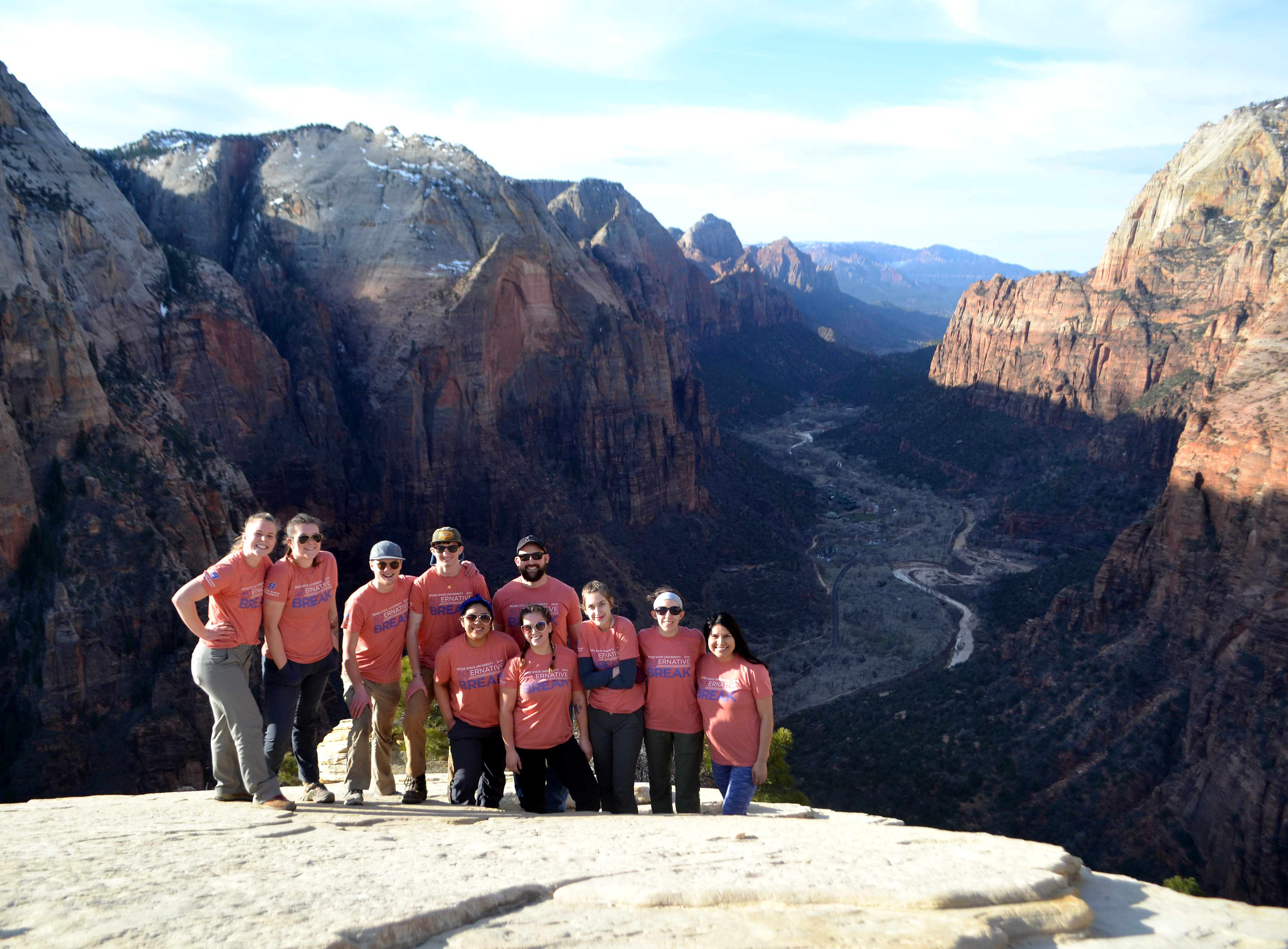 Group of students in orange shirts at Zion National Park