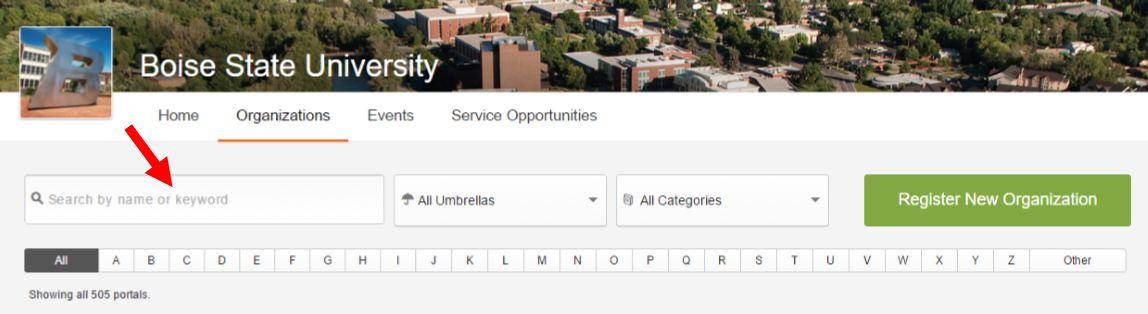 Screenshot showing how to search for a student organization.