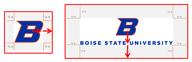 Example logos with grids showing required spacing in logo