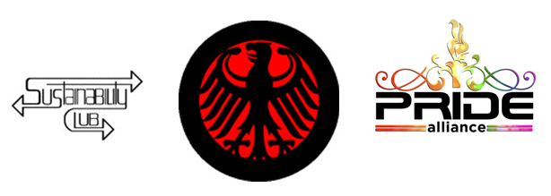 Example Club Logos (Sustainability Club, German Club, Pride Alliance)
