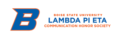 Example Club Logo with the Boise State B (Lambda Pi Eta Communication Honors Society)
