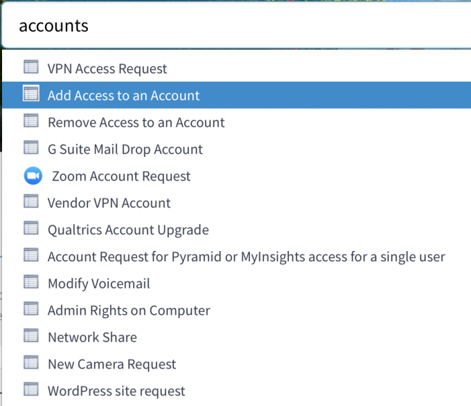 Help Desk Self Service account request options
