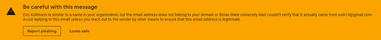 Example of Gmail warning